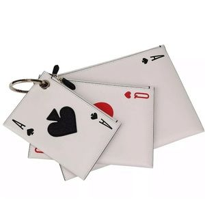 White NWT Kate Spade Lucky Draw Playing Card Trio